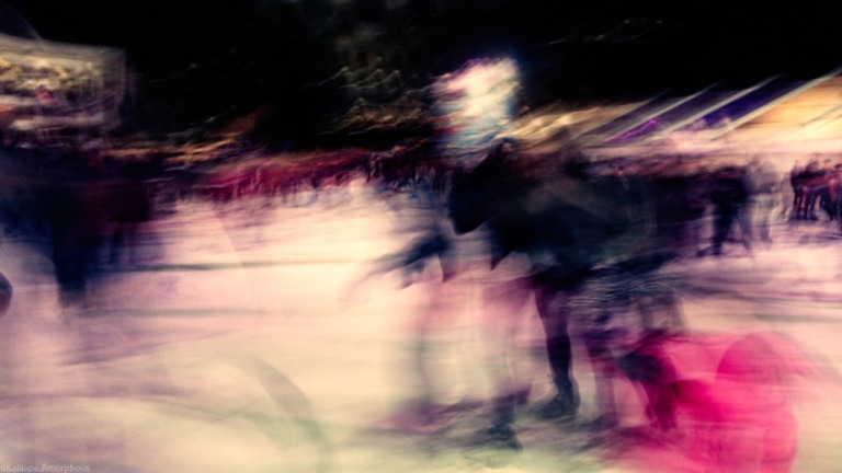 bryant park ice skaters abstract